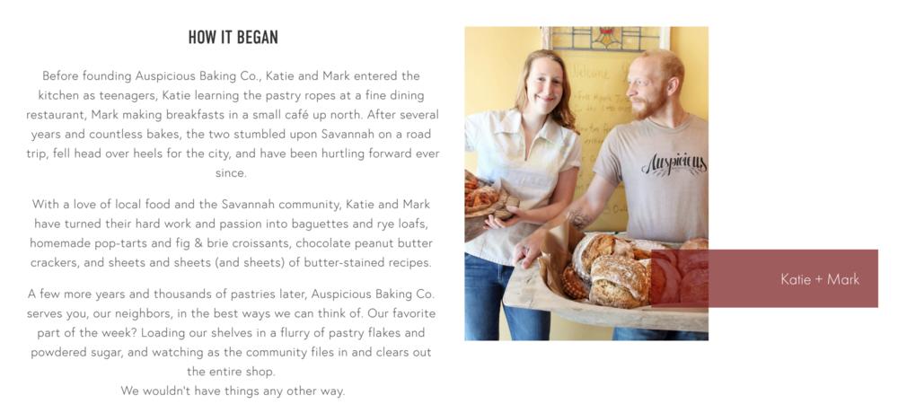 Copywriting — Auspicious Baking Co. Website