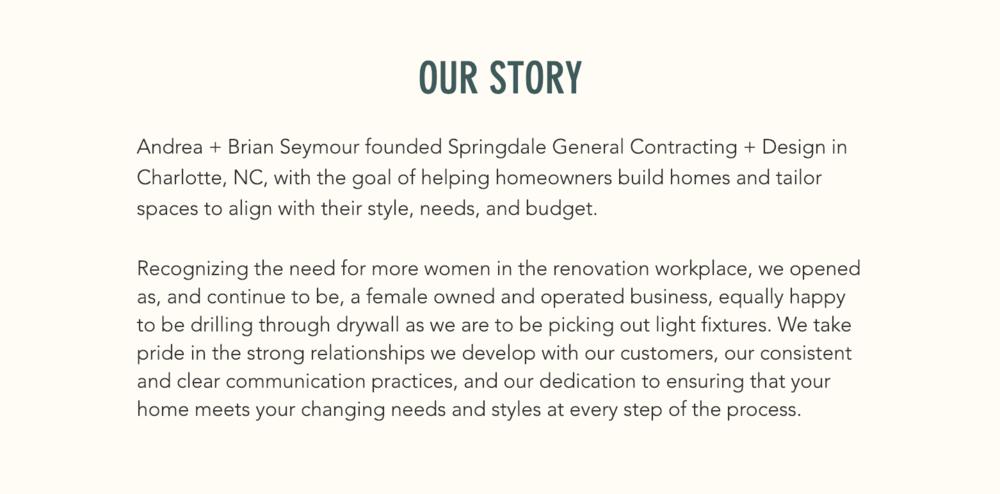 Copywriting — Springdale GC + Design Website
