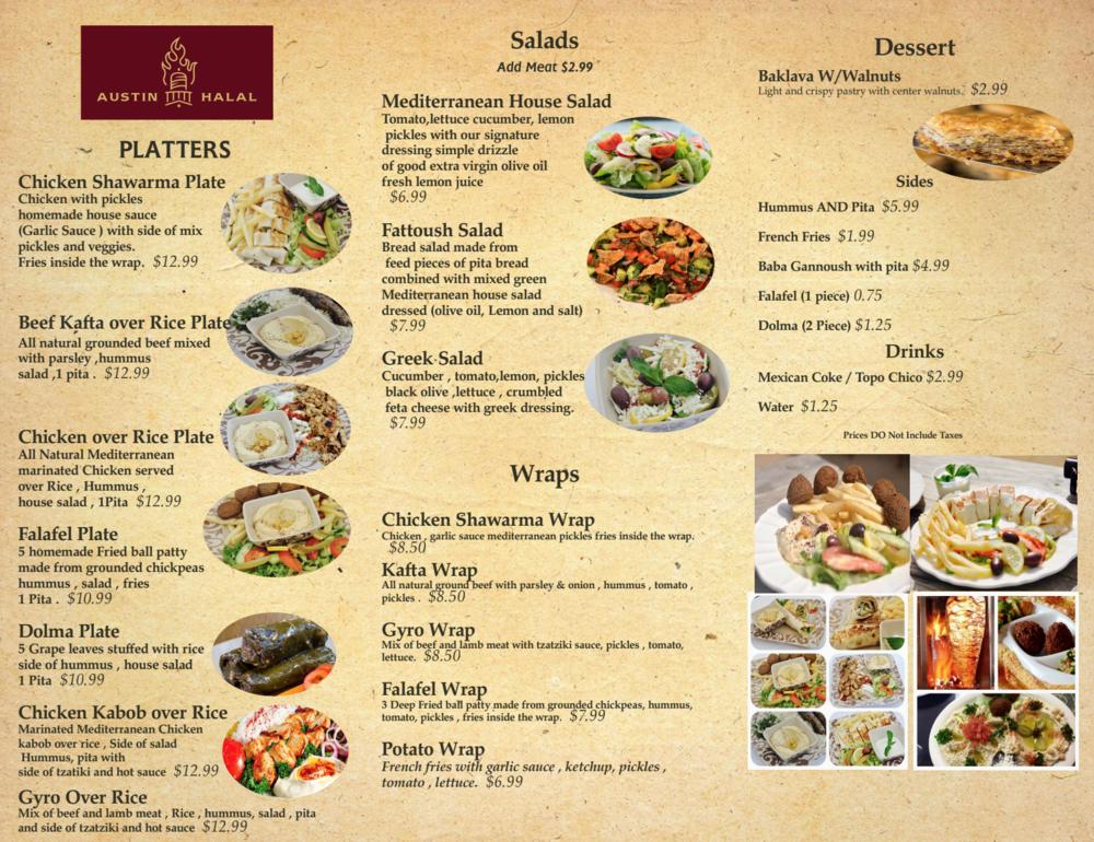 Main Menu Austin Halal Foodtruck