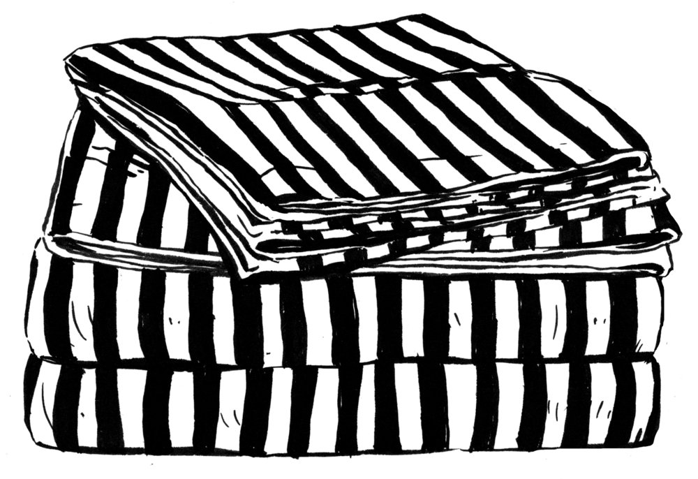 Striped Sheets for University of Depaul Chicago Sleep Study, Ink 2017