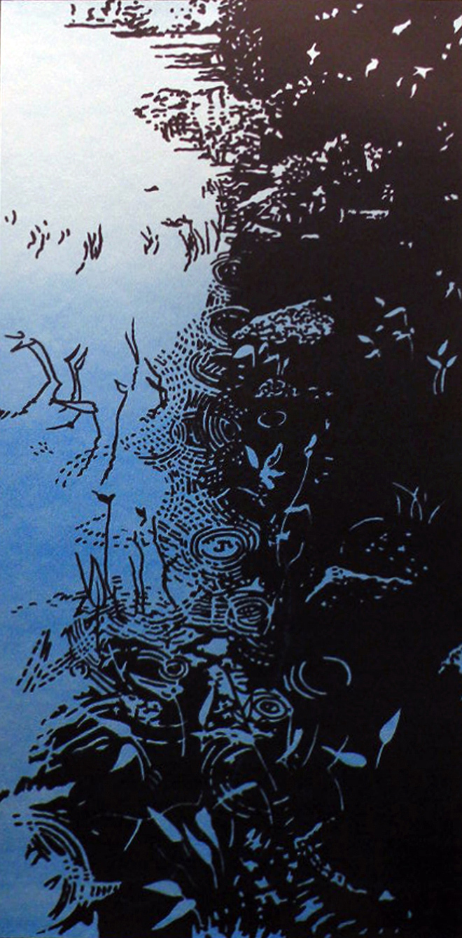 RAIN DANCE (DUSK), 2010, 2 color silkscreen, 25 x 12 5/8, Edition of 21