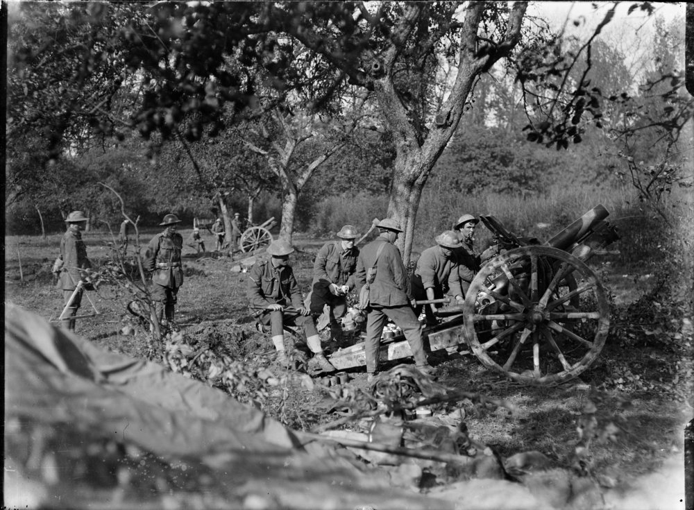 New Zealanders in an orchard in Le Quesnoy, France, 29 October 1918. Photographer: Henry Armytage Sanders. Royal New Zealand Returned and Services' Association Collection, Alexander Turnbull Library, Wellington, New Zealand.