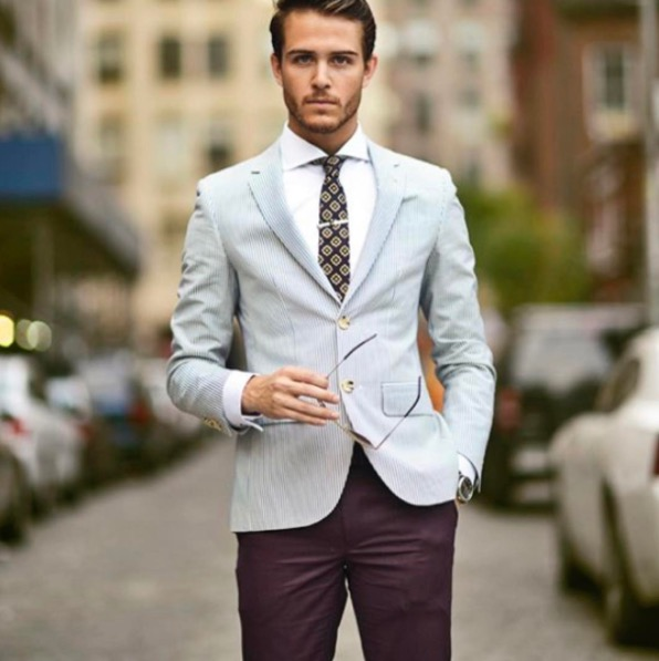 Baby blue blazer burgundy pant