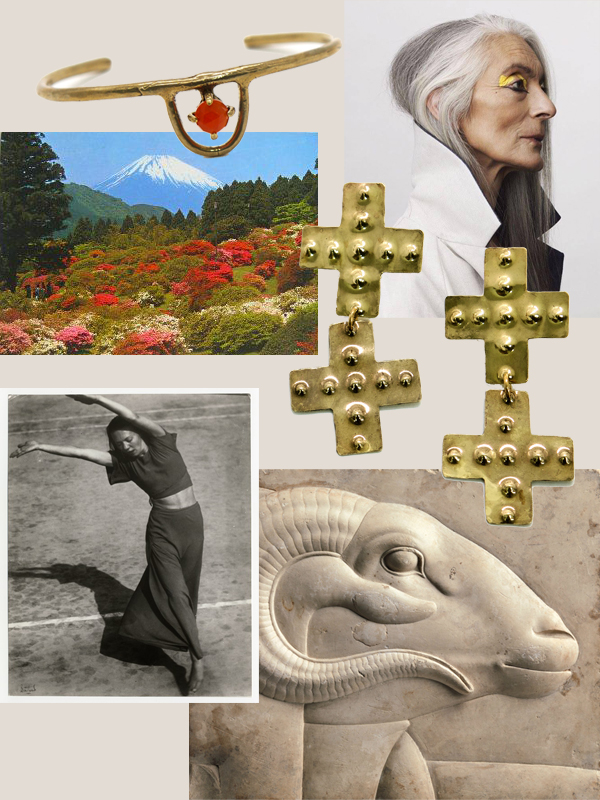 collage credits, clockwise from top right //    Felicity Ingram   , Telos Double Cross Earrings, Egyptian ram relief (400-30 BC), Martha Hill, vintage Mt Fuji postcard, Zodiac Cuff