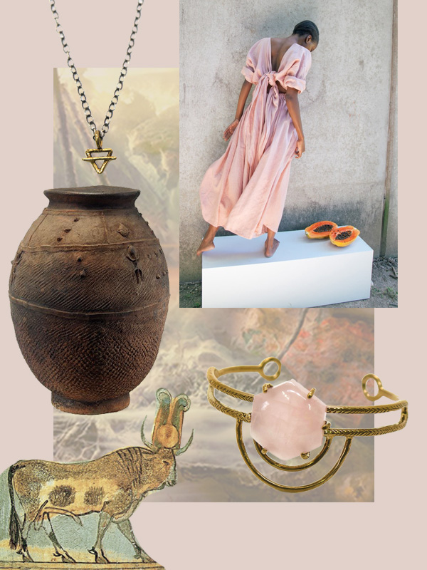 collage credits, clockwise from top left // Earth Element Necklace;  Miranda Bennett ; Dreamweaver Cuff; Egyptian Apis bull;  African Bamana vessel ; background:  Kim Keever