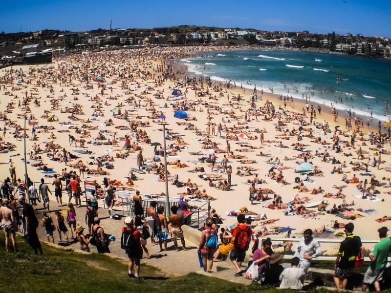 Crowd on Bondi Beach Sydney