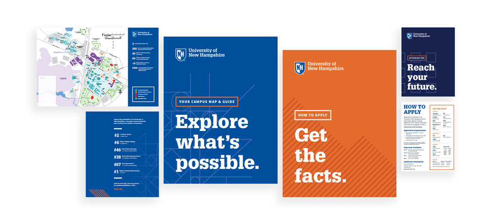 UNH Student Recruitment Work - Explore What's Possible Admissions Lobby Print Collateral - Loren Marple