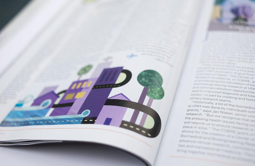 UNH Alumni Magazine Road Scholars Illustration Spread - Loren Marple