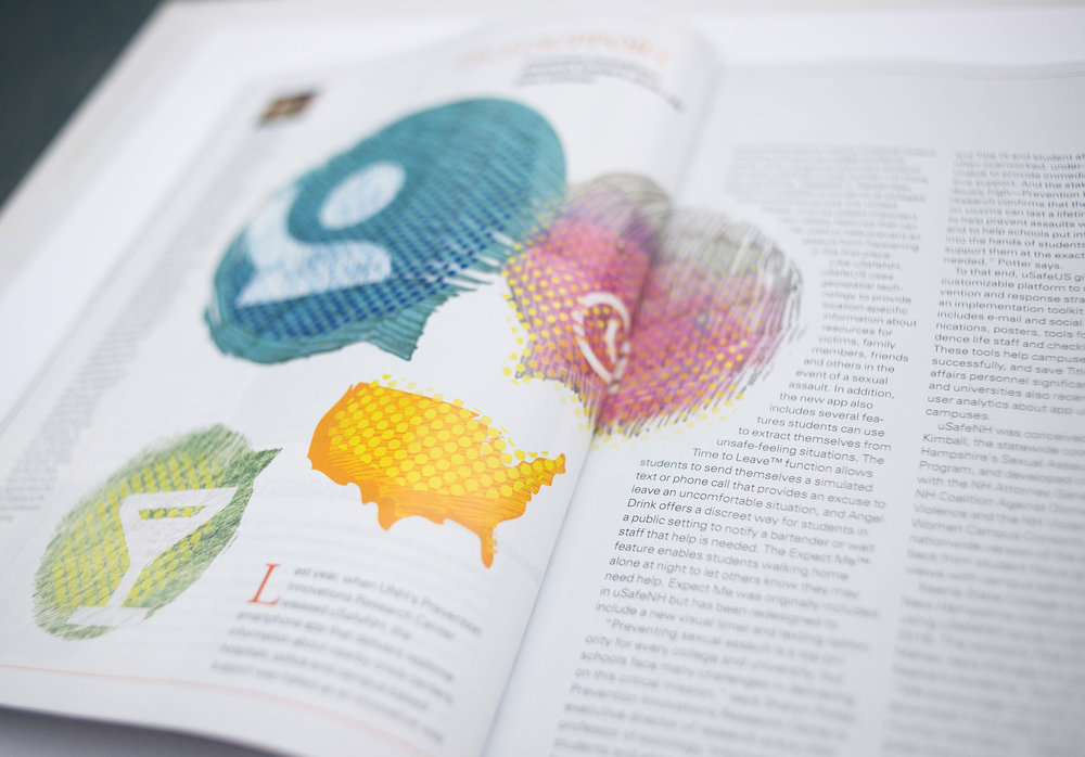 UNH Alumni Magazine uSafeUS App Illustration Spread - Loren Marple