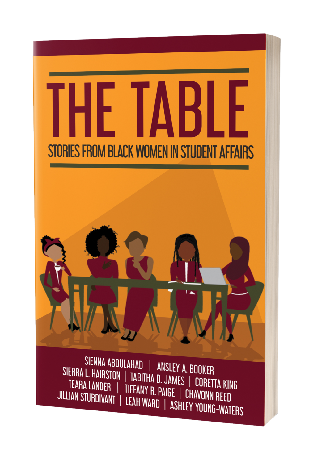 About The Table - Black women work twice as hard to have a seat at the infamous table. The table that once we have a seat at, we are told to be grateful for or else we could lose it—back to the kitchen, preparing meals that we may never have the pleasure of sitting down and enjoying. We are given no plate. No utensils. No napkin to clean up those accidental spills.Instead of waiting for a seat at a table where we would have to compromise our stories or have them told by those who have not walked our paths, we decided to build our own table and invited some of our sisters to sit with us and indulge in its spread. This book is an anthology of the various trials and triumphs 11 Black women encountered while working in the student affairs sector of higher education. We are connected by our experiences navigating in spaces where we have sometimes felt disempowered, but we have learned the trade of maneuvering in a professional environment, and world, dominated by White people.This is just the beginning. We will be adding more chairs, assembling more tables and inviting others in our communities to have a seat where they'd like. No more unfulfilled appetites and unseasoned dishes. No more scrapes from biting our tongues. At this table, we define spaces. We center conversations. We invite fellowship. We serve you food for your soul and truth elixir for your thirst.Sierra Hairston and Ashley Young-Waters, Co-founders of The Table Books