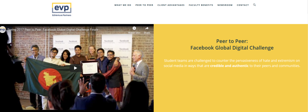 The home page for the Facebook Global Digital Challenge on Edventure Partners website