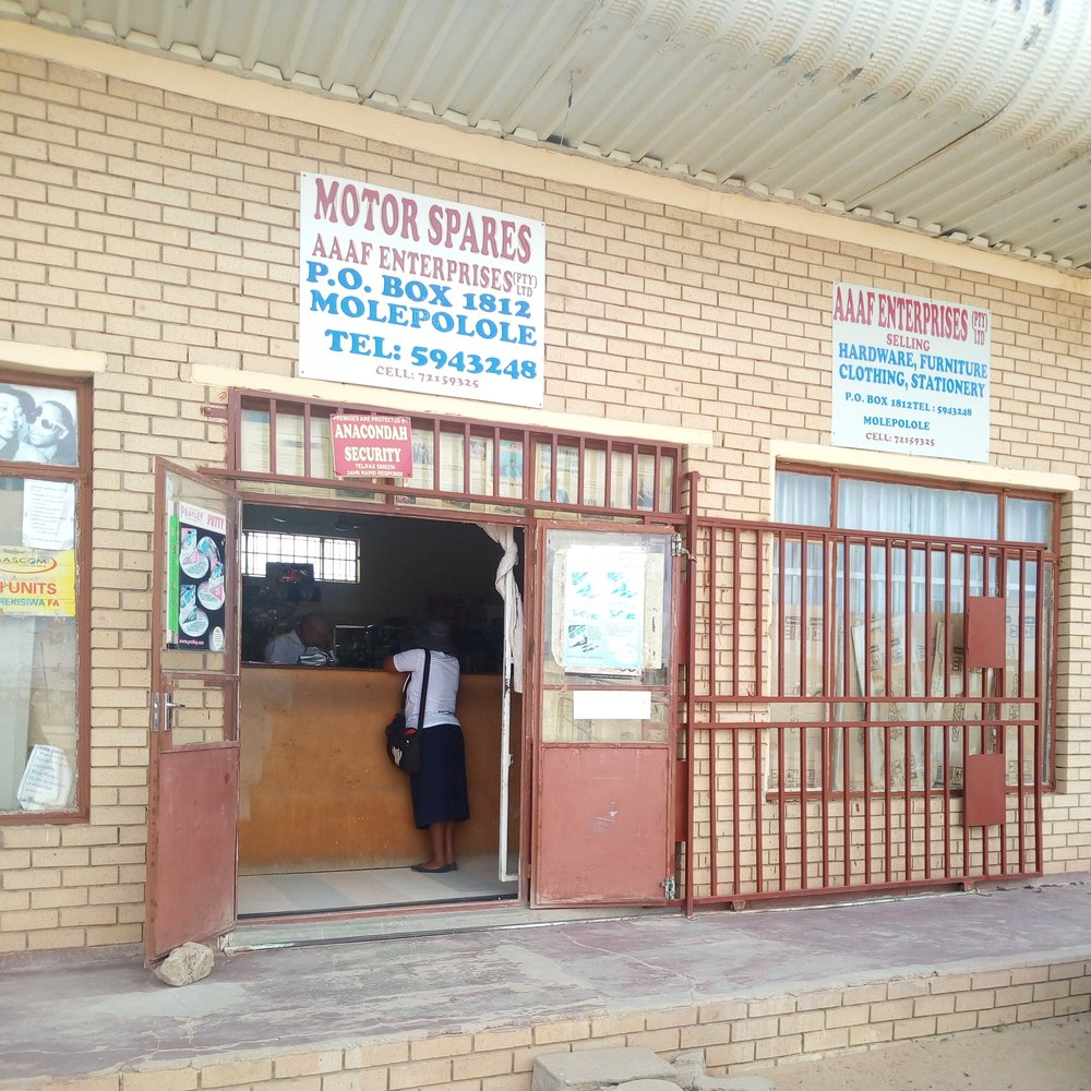 Motor spares AAAF Entreprises (PTY) Ltd - Service Description∙ Selling and helping with car partsOpening Hours:Monday - Friday: 08:30- 17:30Saturday: 08:00-14:00Sunday: -Directions:Modimo WardContact: MD. M Anjad. Ally📞 (+267) 72 15 93 25✎ amjadallymolepolole@gmail.com