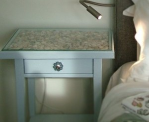 Nest cushion and shell bedside table - Seashore Bedroom