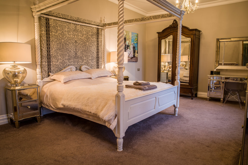 The Bridal Suite - Relax and unwind in our tranquil and romantic Bridal Suite, with a free standing bath overlooking the gardens and luxurious hand picked furnishings. It really is the perfect place to end your special day.