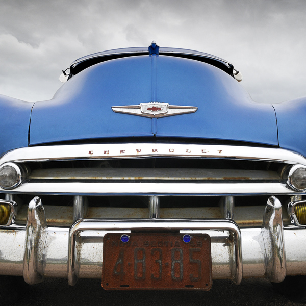 HR02 Blue Chevy II. Colour abstract photograph of a blue 1950 Chevrolet Bel Air by fine art photographer Paul Coghlin. Limited edition photographic prints.
