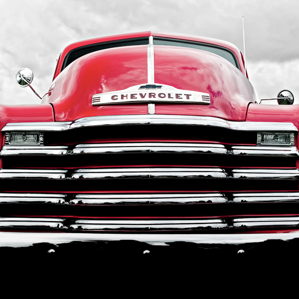 HR04 Red Chevy . Colour abstract photograph of a 1952 Chevrolet 3100 by fine art photographer Paul Coghlin. Limited edition photographic prints.