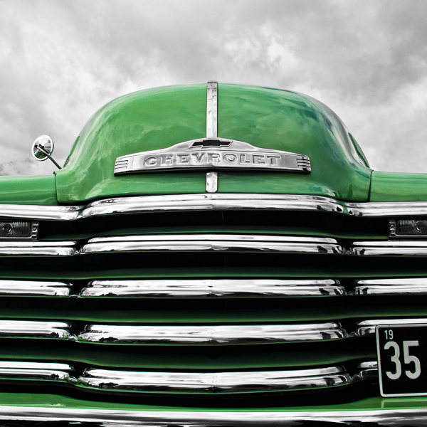 HR05 Green Chevy. Colour abstract photograph of a 1952 Chevrolet 3100 by fine art photographer Paul Coghlin. Limited edition photographic prints.