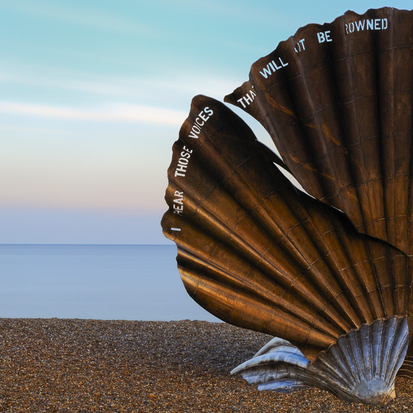 Scallop (2003) by Suffolk sculptor Maggi Hambling. Long exposure photograph by fine art photographer Paul Coghlin