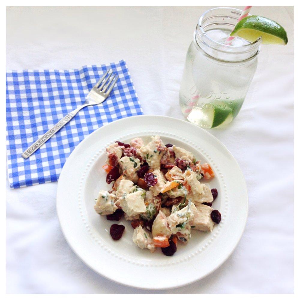 Confetti Chicken Salad with drink.JPG