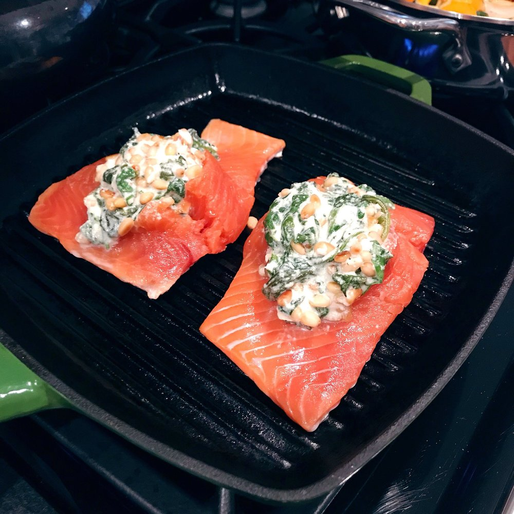 salmon on the grill pan.JPG