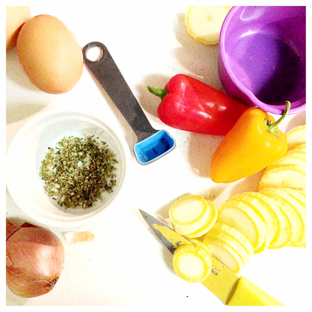 peppers, eggs, spices, measure cups.PNG