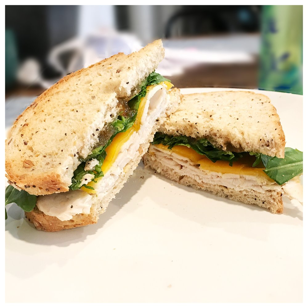 Get the recipe for this super simple Fig & Cheddar Turkey Melt!