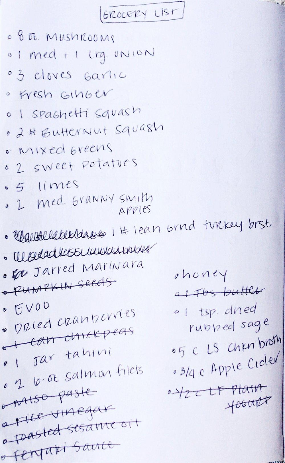 final grocery list