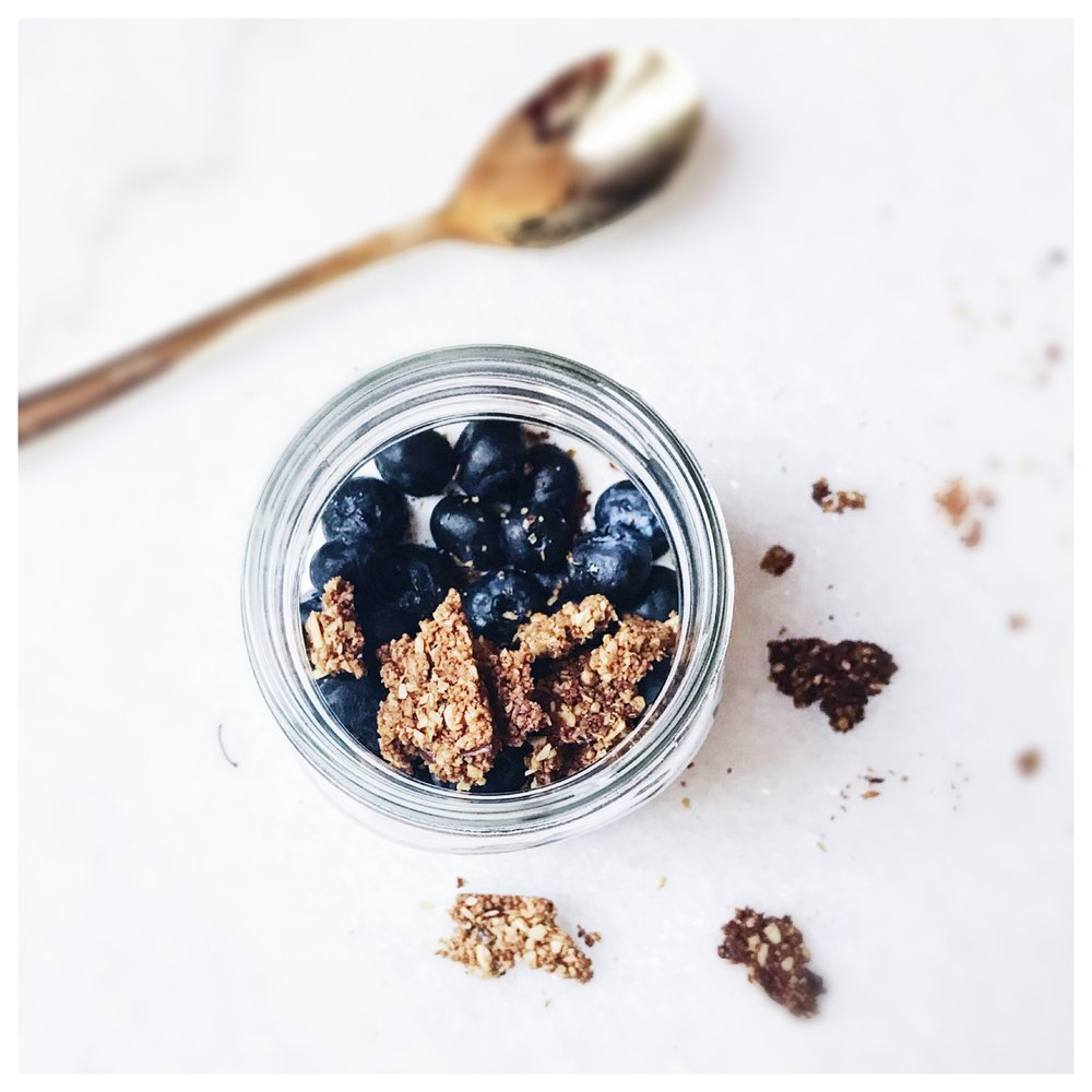 Love simple breakfasts that include filling a small mason jar with my favorite yogurt, fruit and homemade flax & chia seed granola.