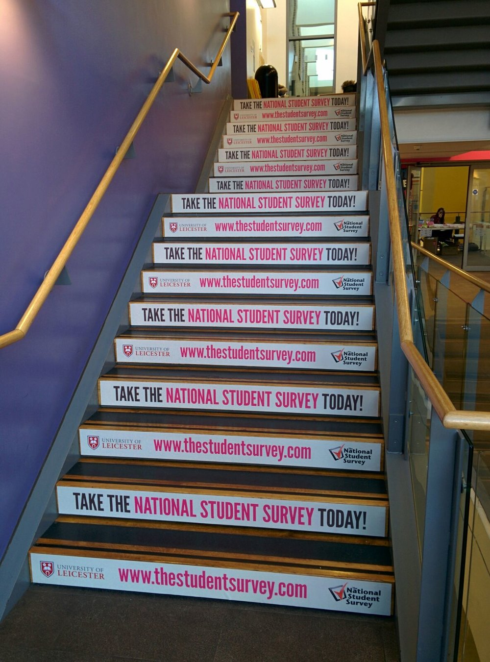 Branded Steps - Placing your messaging at the feet of your audience in prominent, high footfall campus locations.Both Temporary and long-term options are available.
