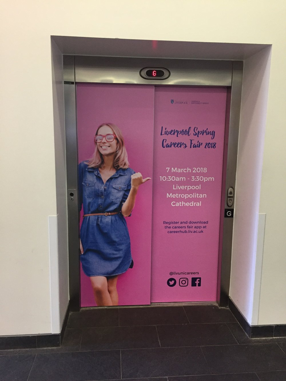 Lift Vinyls - Another unique but eye-catching branding solution on-campus. Utilising lift doors in heavy footfall buildings by applying a temporary adhesive vinyl provides an extra dimension to your marketing communications.