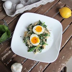 Lemony Greens & Grains with Soft-Boiled Eggs