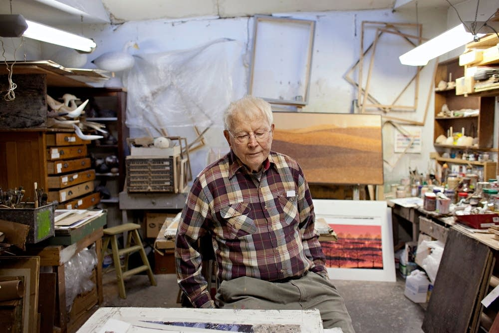 Woodcut printmaker and artist Charles Beck sits in a small studio adjacent to his Fergus Falls home on Jan. 18, 2013.  Ann Arbor Miller for MPR 2013