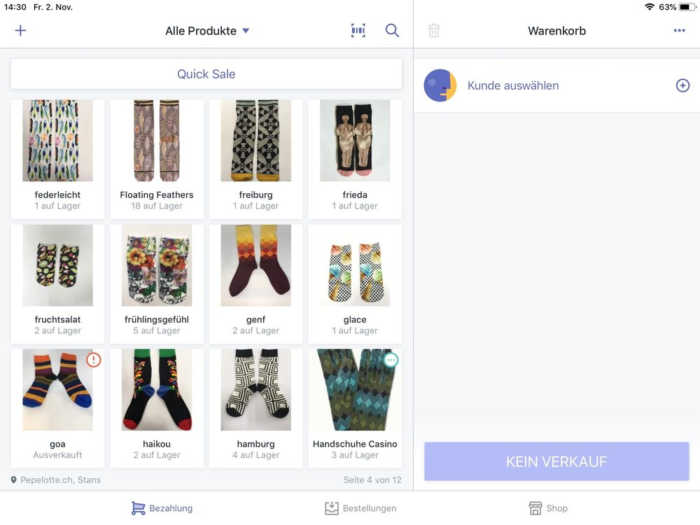 Detailhandel Kassenlösung, Onlineshop, Facebook und Instagram verkauf