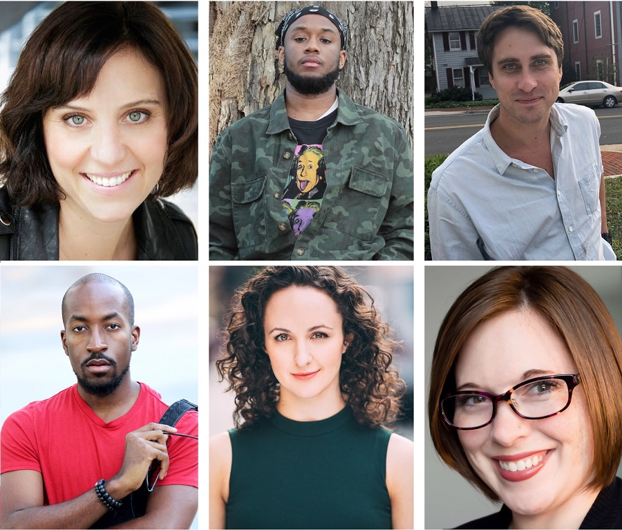 The 2019 Haas Fellows are (top row, left to right) Amy E. Witting, A. Emmanuel Leadon, Will Snider, (bottom row, left to right) Dave Harris, Kate Hamill, and Whitney Rowland. (Photos courtesy of PlayPenn)