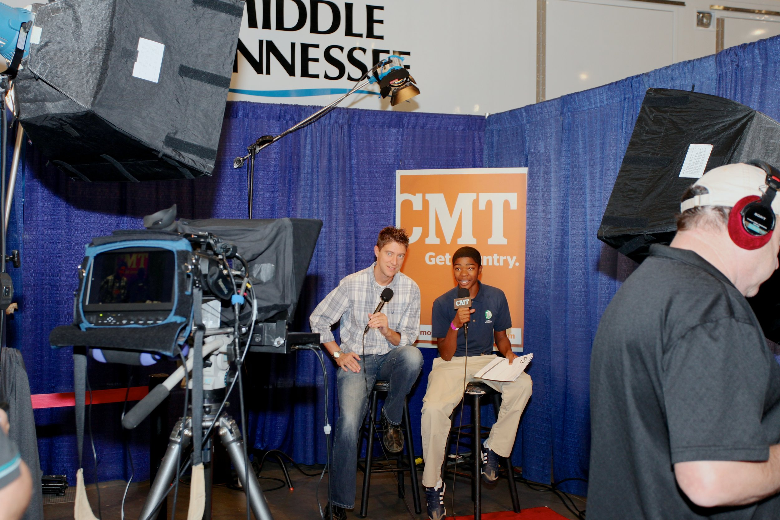 Many businesses allow students to experience the job by providing real world scenarios such as a live television interview while at the Career Exploration Fair.