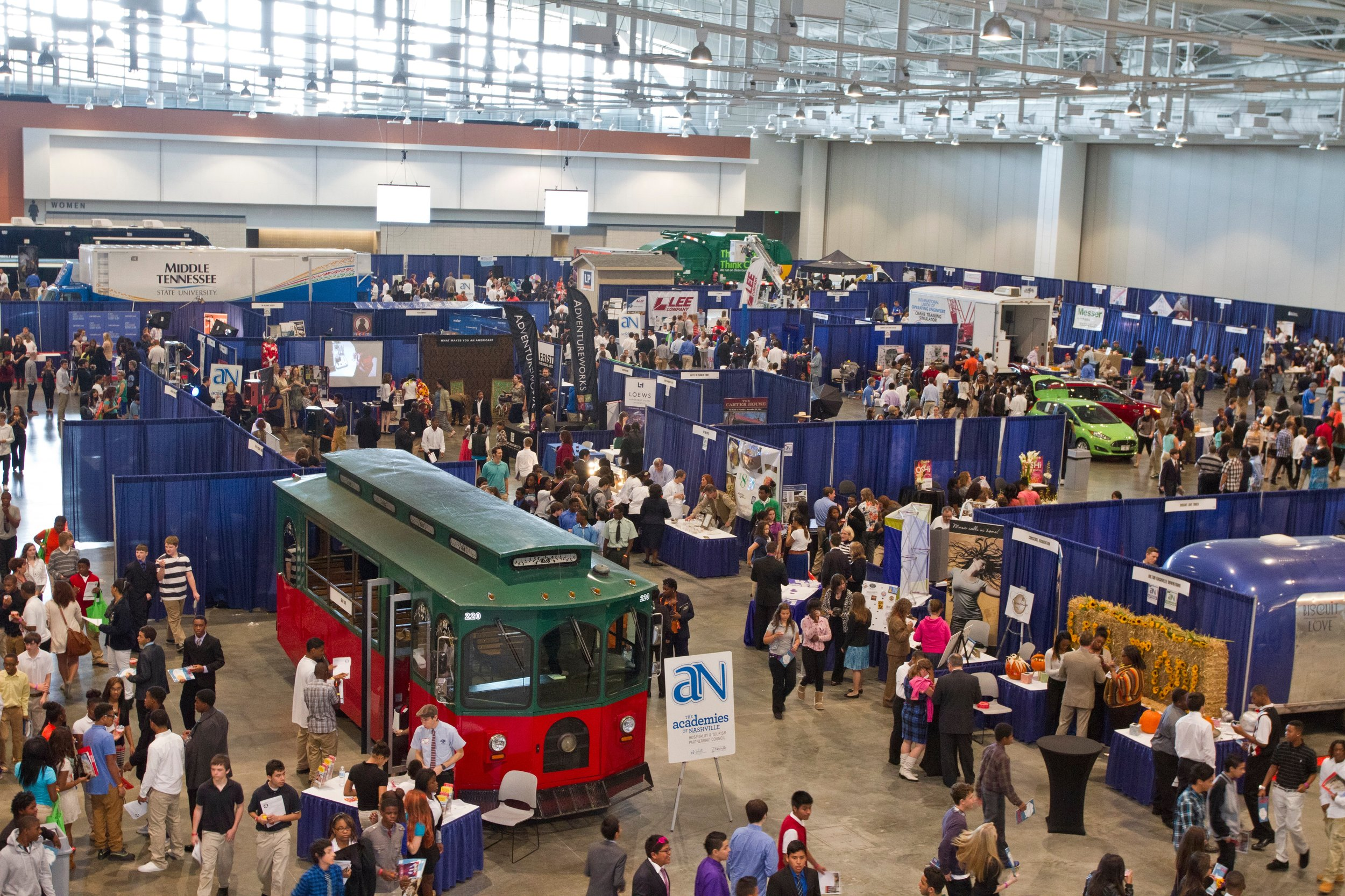 A bird's eye view of the Music City Center shows the vast number of careers and interactive exhibits available for students at the Career Exploration Fair.