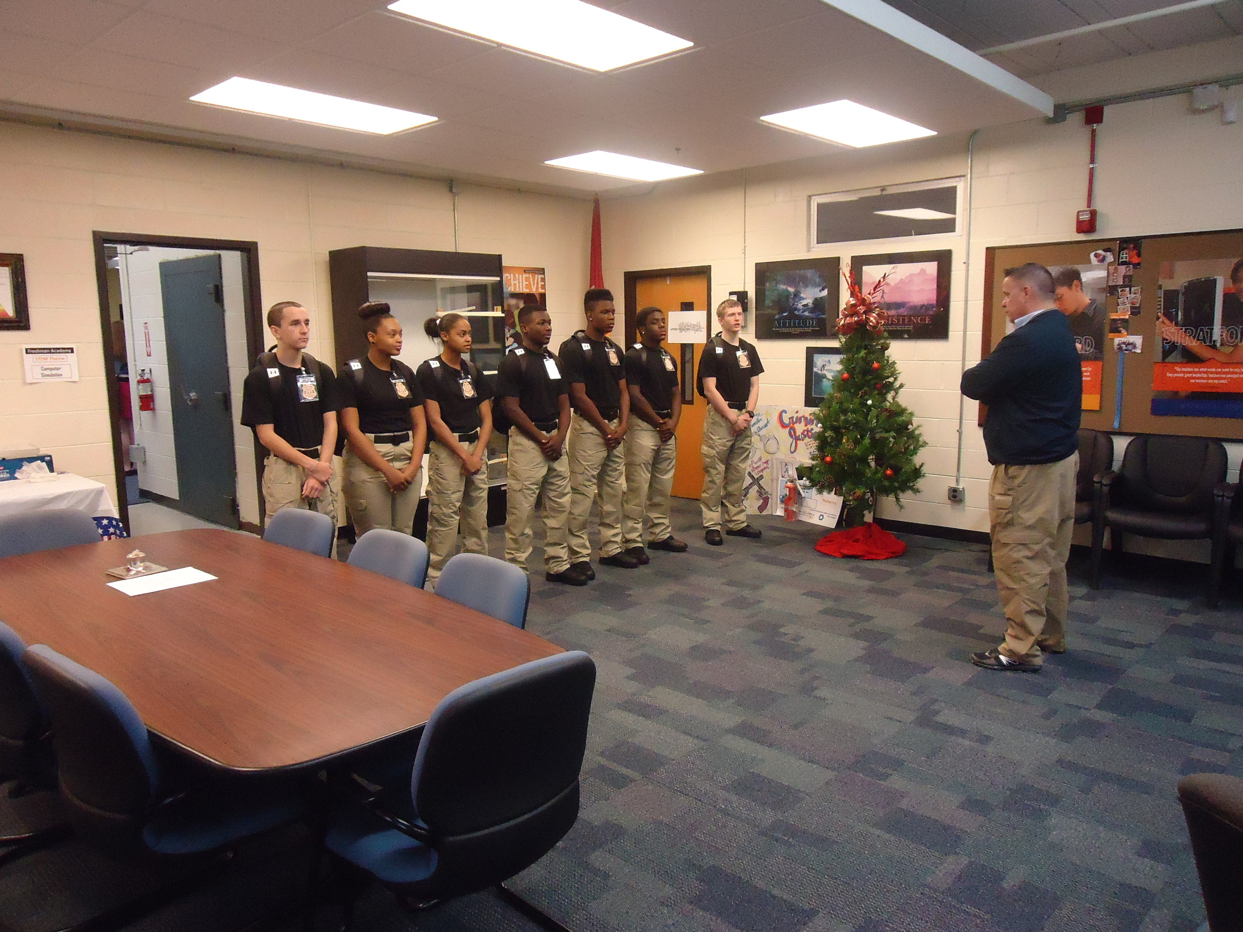 "Stratford criminal justice cadets were provided a situational report, AKA ""SITREP, on integrity, leadership, and command presence by executive principal Michael Steele, prior to departing on their field trip to the Tennessee Law Enforcement Training Academy."