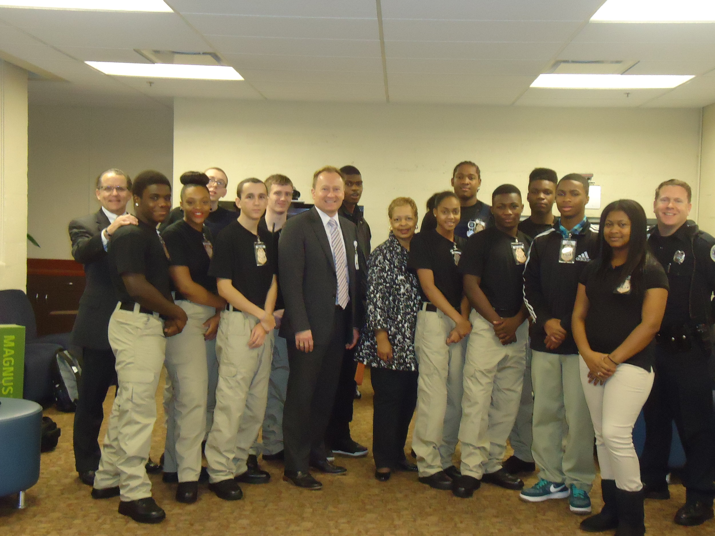 Stratford criminal justice corps students presented an executive briefing to MNPS High School Principals regarding the global war on terror, with a specific emphasis on the Boston Marathon bombing incident, investigation, and ongoing judicial process.