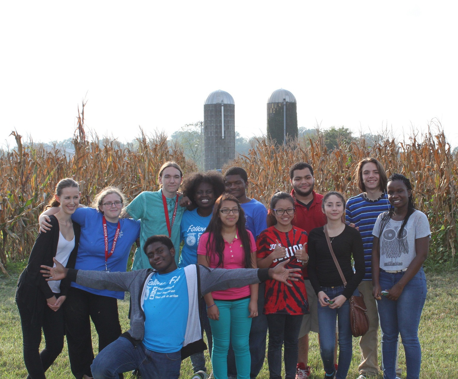 FFA members from Glencliff, McGavock, Overton, and Whites Creek pose as a group before making their way into the soil judging pits.