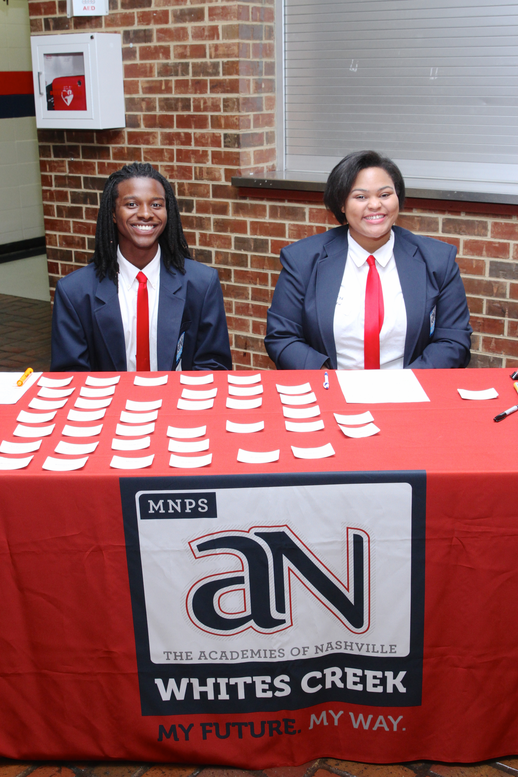 Whites Creek High School Academy Ambassadors welcome guests to the VIP Tour.