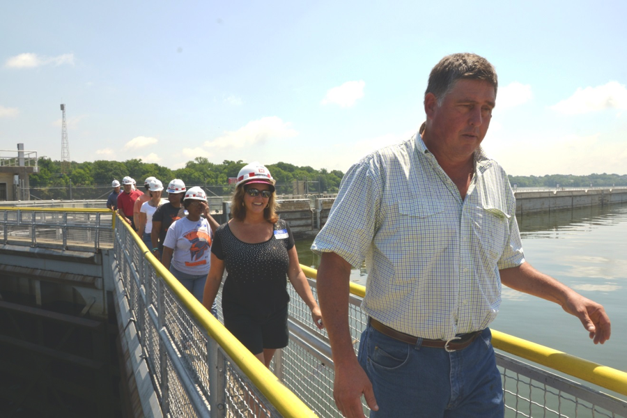 Stratford STEM Magnet High School teachers tour the Old Hickory Lake Lock and Dam.