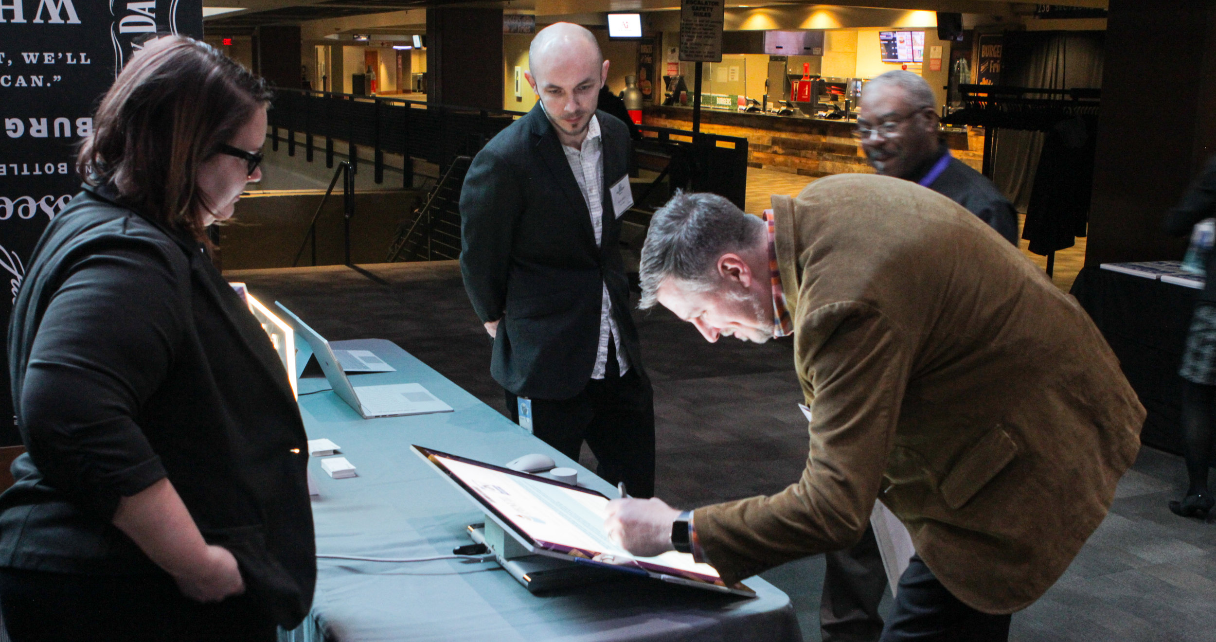 Microsoft displayed some of its newest technology to assist partners in recommitting to the work of the Academies of Nashville.