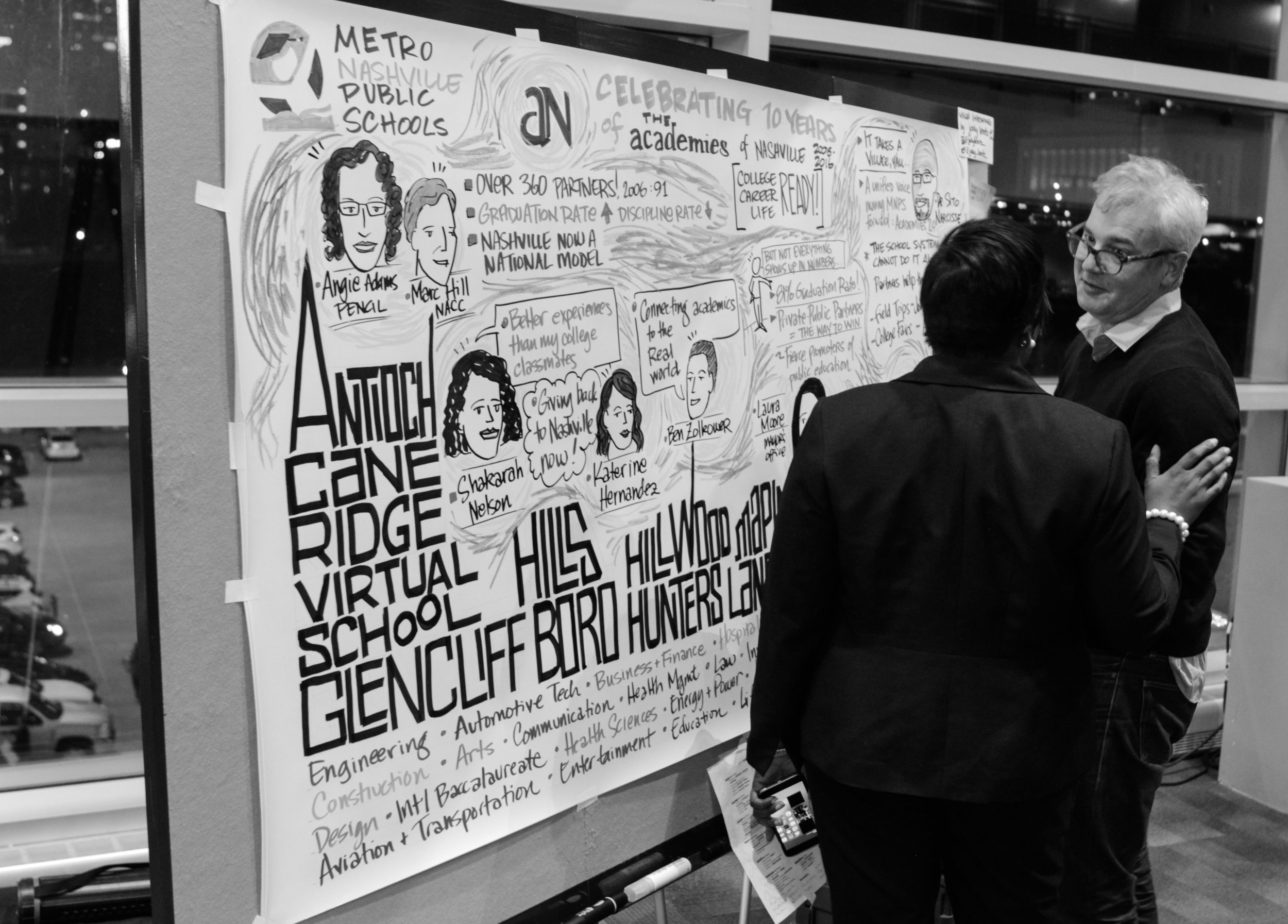 Academies graduates shared their stories of how the Academies of Nashville impacted their education. Throughout the evening, Jody Lenz recorded their inspiring messages through graphic listening.