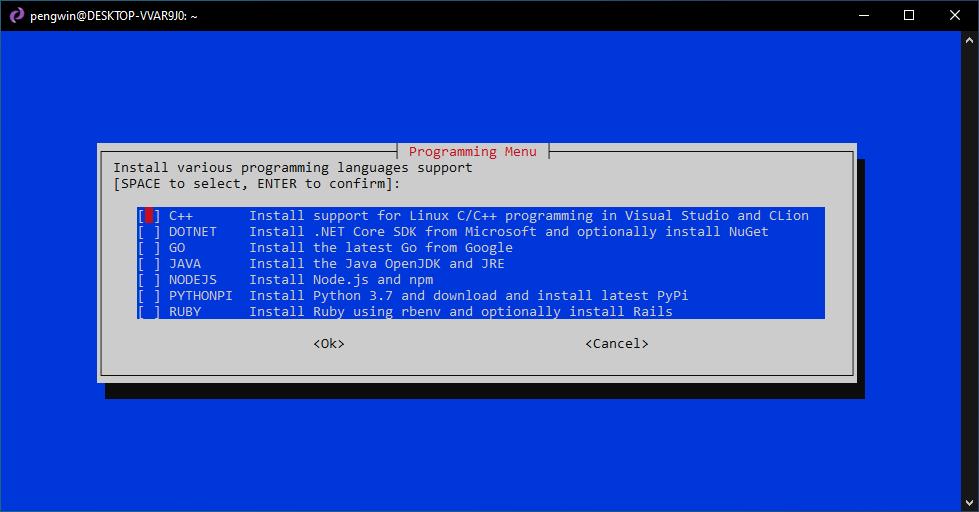 Programming Menu