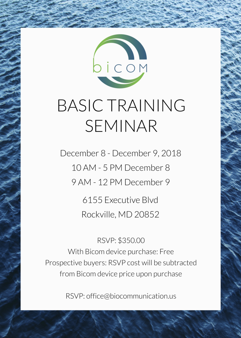 Bicom bioresonance device training will be offered in Bethesda, MD (Near Washington DC) this december. Training is offered for practitioners across Americas, including the USA, Canada, Mexico, and Central and South America. Biocommunication is a project of Galaxy health Technology, LLC.
