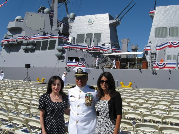 My mom and big sister at the ship's commissioning ceremony in Southern California.