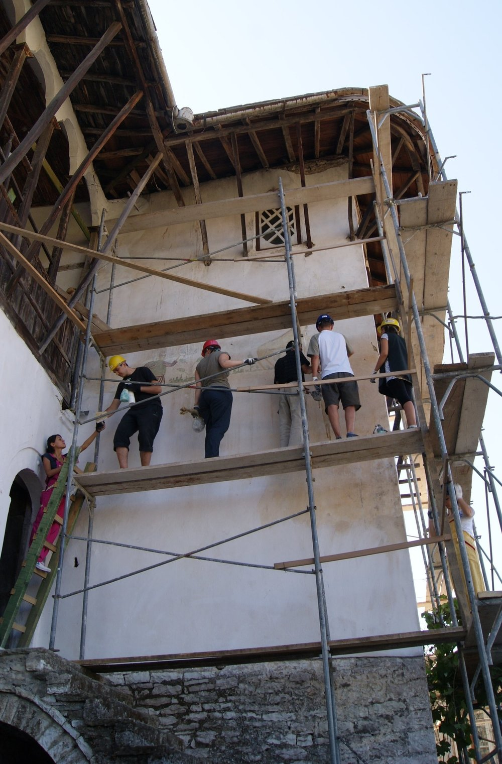 Put your hands on history – you'll be glad you did! - AiP jammers scrambled along scaffolding to document wall paintings at the massive stone tower house in old town Gjirokastra, a World Heritage site. Laser scanning proved an invaluable tool in documenting the artwork and discovering hidden images.Gjirokastra, Albania - September 2014