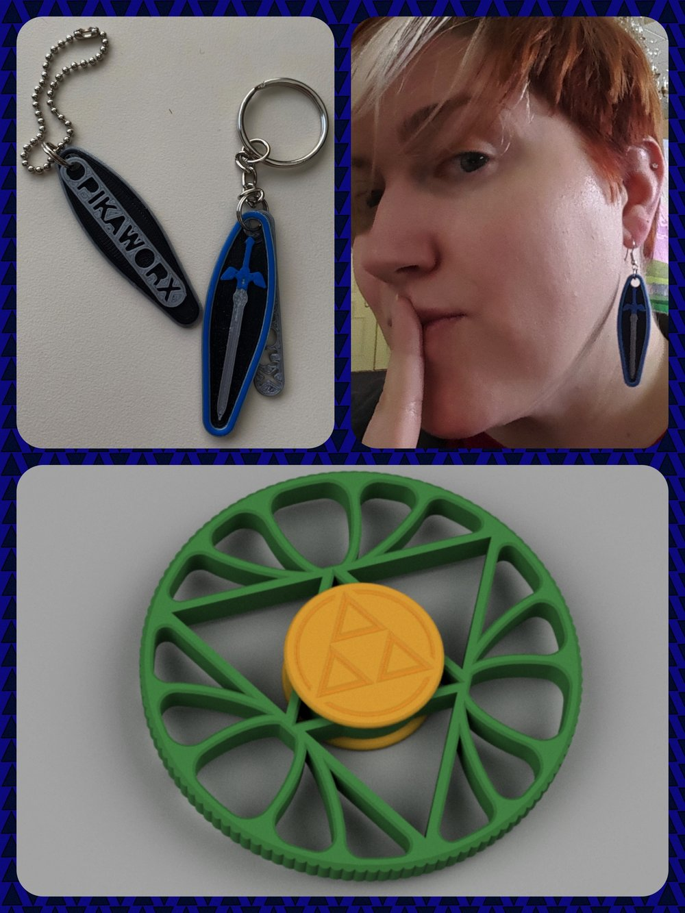 The Zeldathon Response Collection - Master Sword KeychainMaster Sword EarringsTriforce Lotus Fidget Spinner