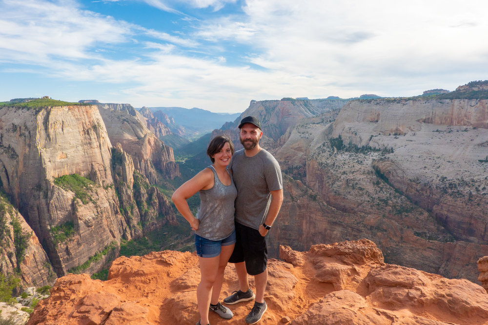 My wife Rebecca and I at observation point in Zion National Park, UT.