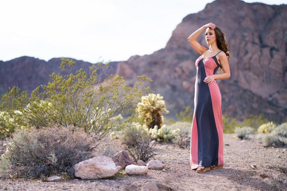 Model Savvy standing in the Desert